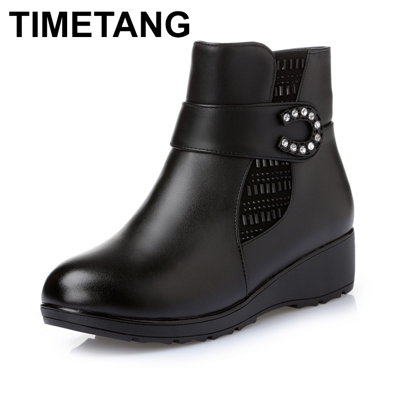 TIMETANG Plus size(35 43) winter women genuine leather wedges snow boots wool fur ankle boots warm shoes women boots