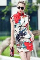 Idellyวินเทจสไตล์จีนdressภาพวาดหมึกพิมพ์qipaoบางdressผู้หญิงโอเรียน