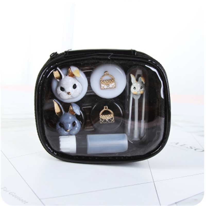 1 Set Cute Contact Lens Case For Women Men Animal Flower Human Eyes Contact Lenses Box With Mirror For Glasses Lens Container