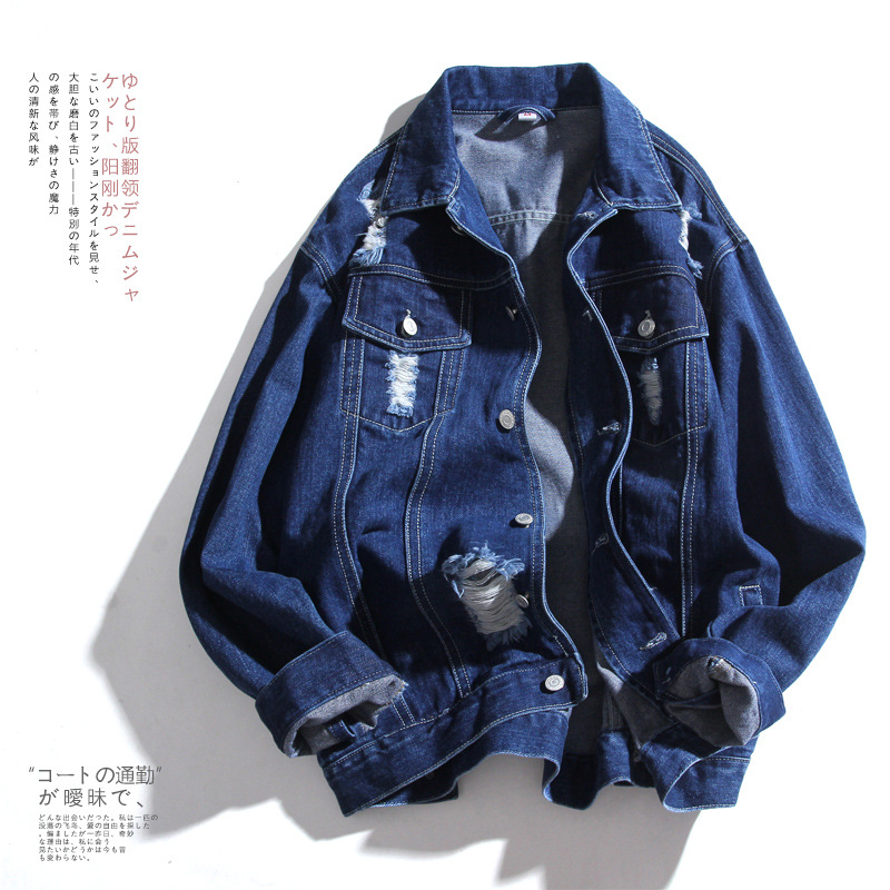 loose Bomber Denim Jackets Men autumn jeans coat Harajuku style long sleeve Hip hop tops broken hole casaco masculino