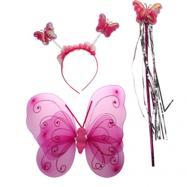 Fairy Princess Kid Costume Sets Girls Butterfly Wings Wand Headband Rose Red