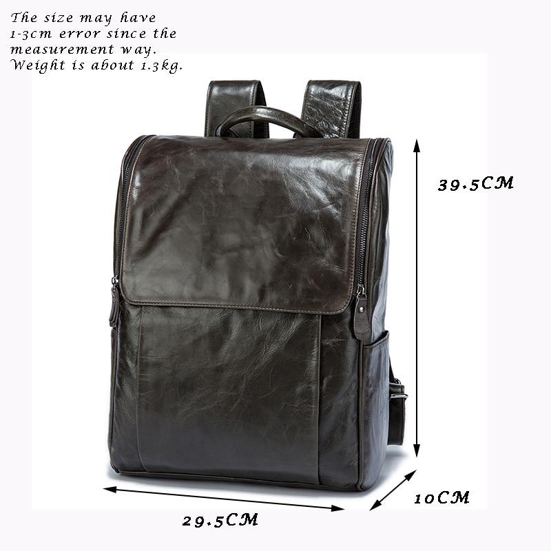 Для мужчин рюкзак натуральная кожа кожаный рюкзак для ноутбука Мужской прочный большая вместительность Многофункциональный Винтаж Бизнес... - 4