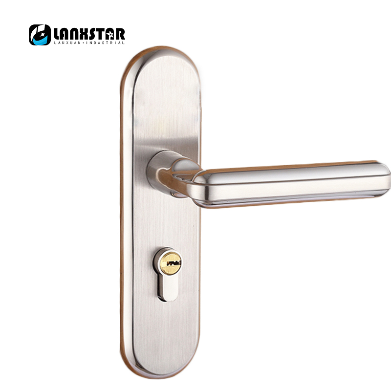 LANXSTAR 304 Stainless Steel Genuine Copper Lock-core Security Fashion Exterior Door Locks Iron Wood Door Lock Handle Lock europe standard 304 stainless steel interior door lock small 50size bedroom big 50size anti shelf strength handle lock