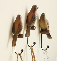 Real Photo Newest Fashion Metal Hook Wooden Bird Hook Lovely Home Decoration Cute Wood Hook Room Wall Hanging