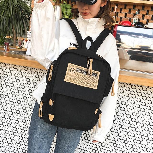 Fashion backpack women shoulder Bag School bags for teenager girls boys casual solid backpack school 3