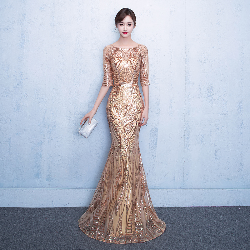 Long Sleeve Gold Sequin Prom Dress