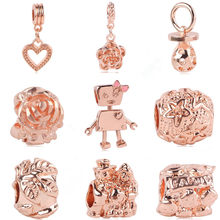 Ranqin Fit Pandora Charm New Rose Gold Robot Flower Lover DIY Bead Bracelet Pendant W Jewelry(China)