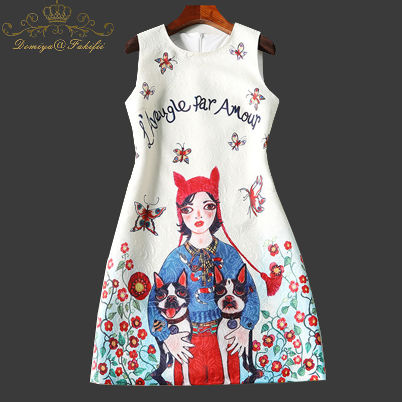 O Neck Women Mini Dress 2018 New Brand Summer Girl Luxurious Slim Dresses Vestidos Character Print Casual Dress Family Clothes