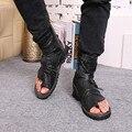 2017 de Moda de Verano Hombres Sandalias de Gladiador Toe-Perilla Hombres Verano Tacones Motorcycle Boots Negro Abierto hombres Zapatos Size38-46 Nave de la gota