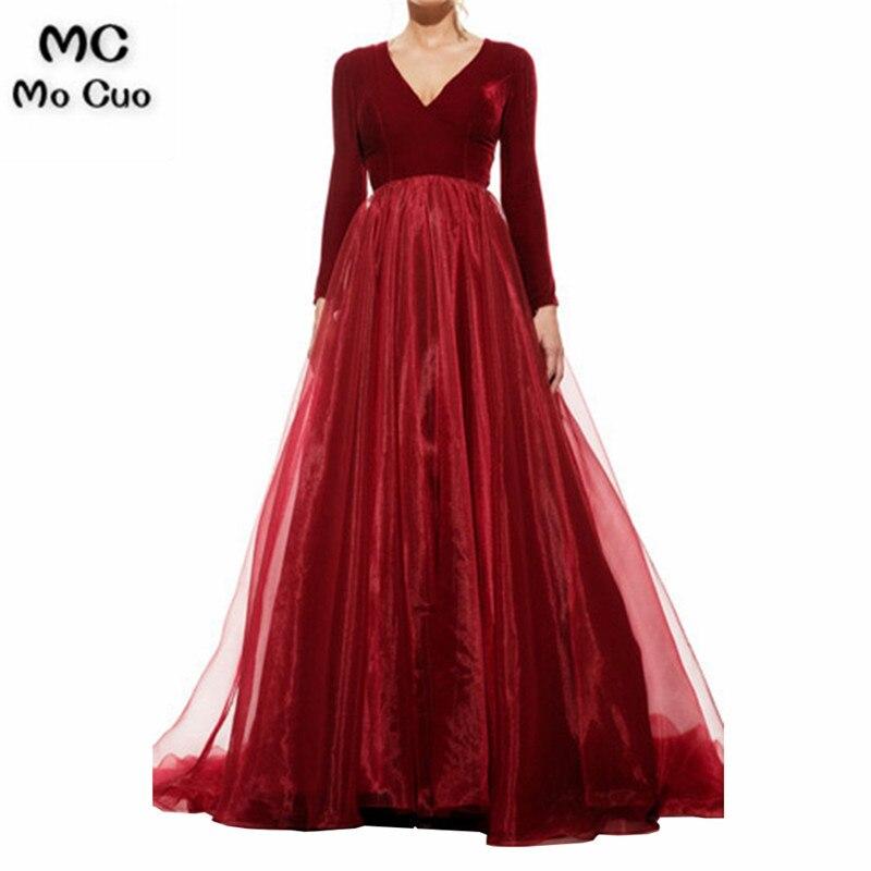 Ready 2019 Muslim Arabic Dubai Burgundy Vestido de festa longo V-Neck Velour Long Sleeve long   evening     dresses   for women