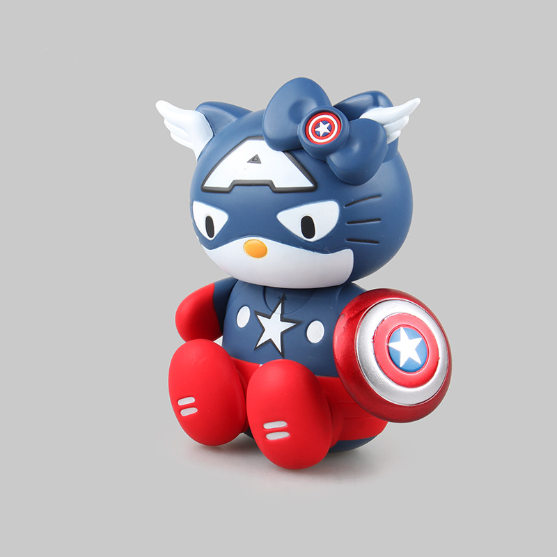 15cm Kitty White Hello Kitty Cos Cosplay Captain America GUNDAM Cartoon Action Figure PVC Model Toy Doll Gift Kids Decoration