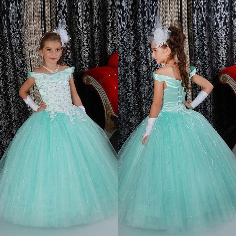 Amazing Ball Gown Girls Pageant Dresses Nice Light Blue Crystal beaded lace applique Flower Girl Dress for Wedding Party