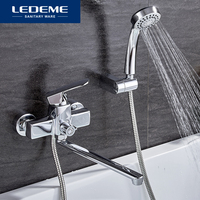 LEDEME Modern Style 1 Set Bathroom Bathtub Faucet Chrome Brass Cold And Hot Water Mixer Chrome