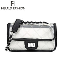 fcbb50f8bd9c Herald Fashion Classic clutch Messenger Bags Small Chain Shoulder Flap bag  Exquisite Transparent Bag Stylish Crossbody