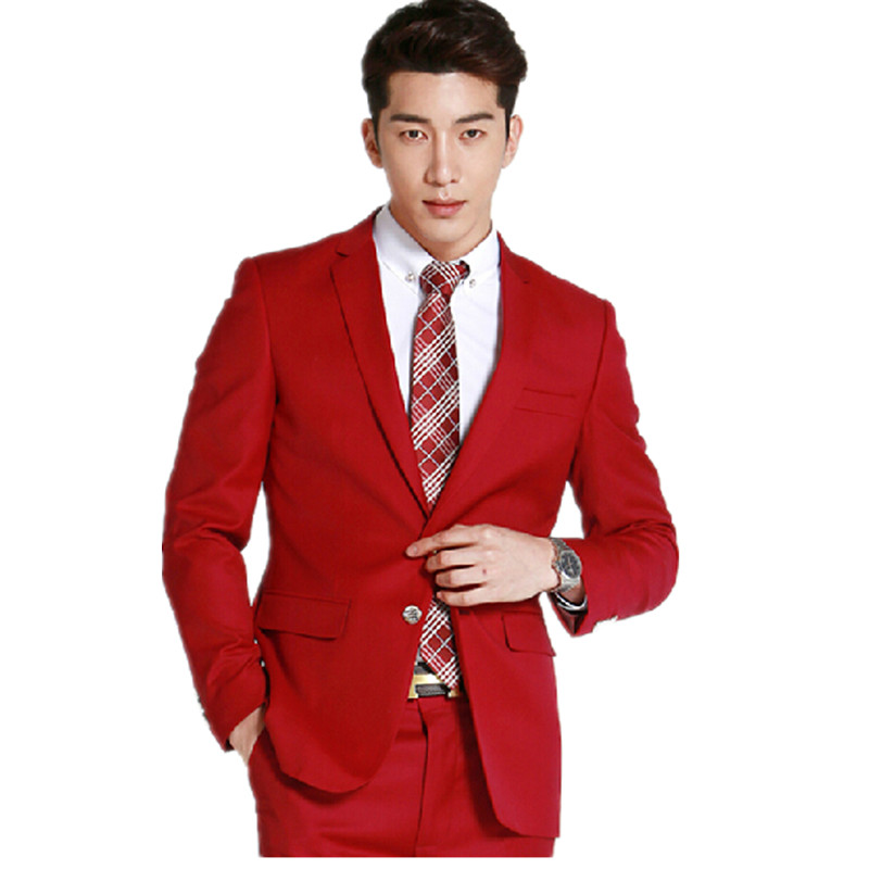 High qulity mens font b wedding b font font b suits b font fashion red the