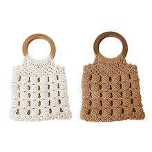 Women Handbag Tote Cotton Rope Straw Hand Woven Bag Totes Handmade Hollow Bags Wooden Handle Casual Beach Holiday Travel Handbag недорого
