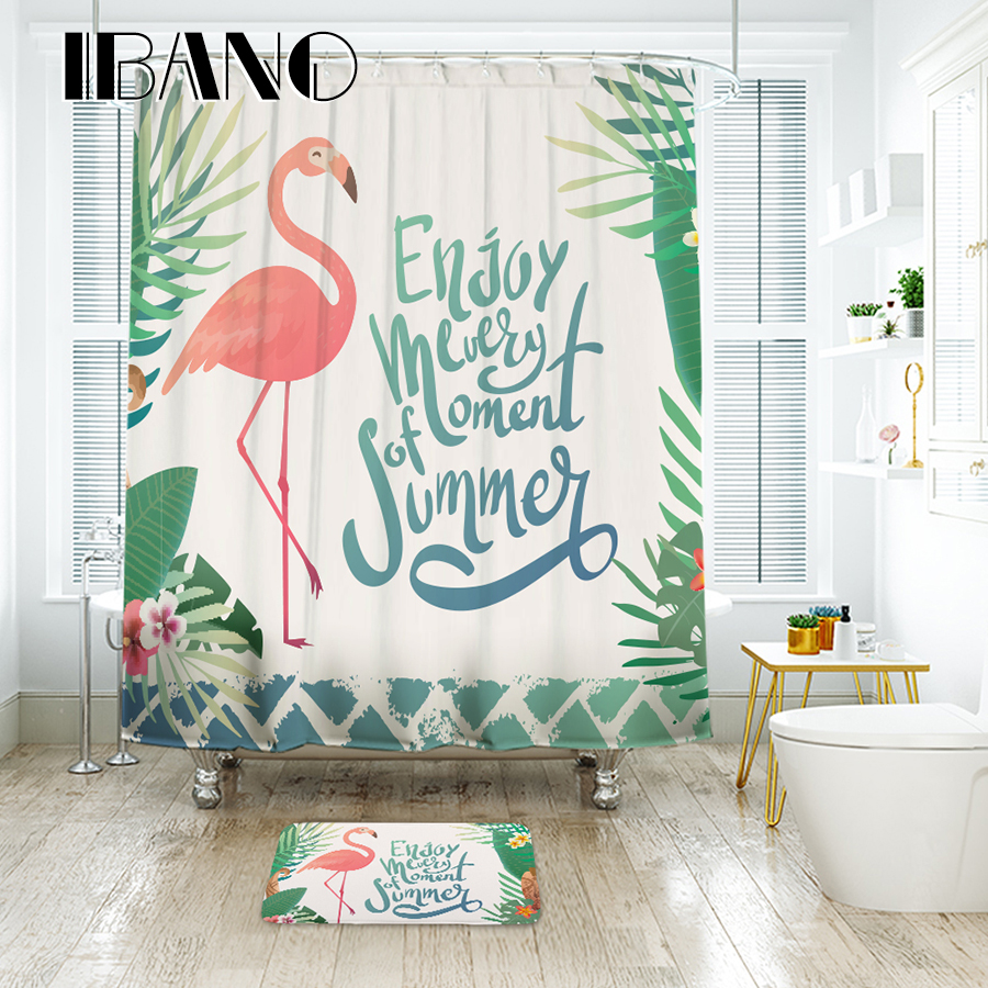 Bath Shower Curtain Home Decor Bathroom Accessories Flamingo Partern ...