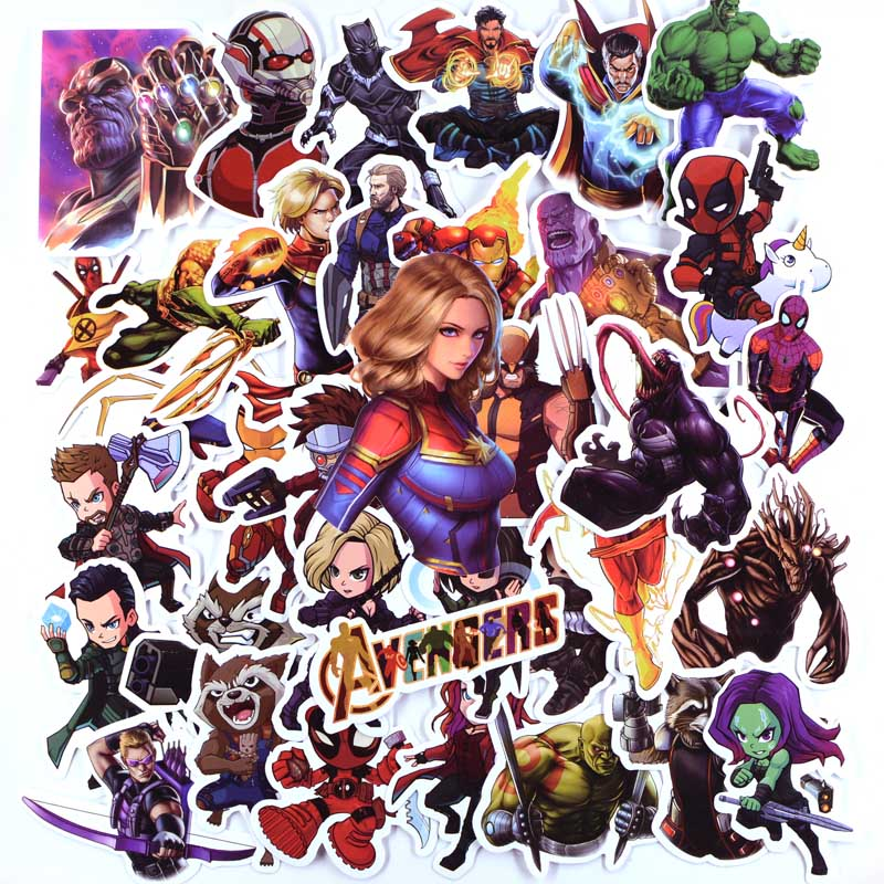 50 PCS Super Hero Stickers For Luggage Laptop Decal Skateboard Avengers Stickers Bike Motorcycle Fridge JDM Sticker