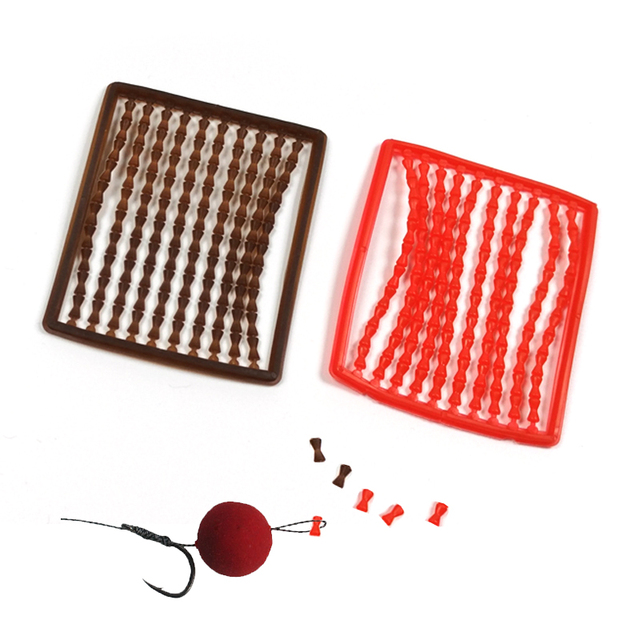 [ 5 Boards / 500 Stop] Soft Carping Hair Rig Boilie Bait Stops Red Crimson Plastic Dumbell Stoppers Fishing Terminal Accessories