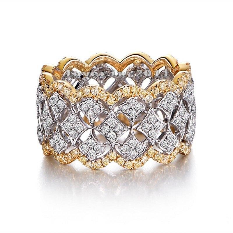 Size5-11 מדהימים ייחודי Desgin יוקרה אבנים 214 יחידות AAA CZ 925 כסף מדומה תכשיטי חתונת נשים טבעת מתנות