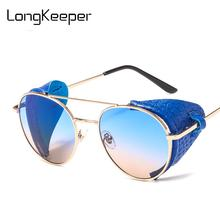 Vintage Steampunk Leather Shield Sunglasses Men Fashion Meta