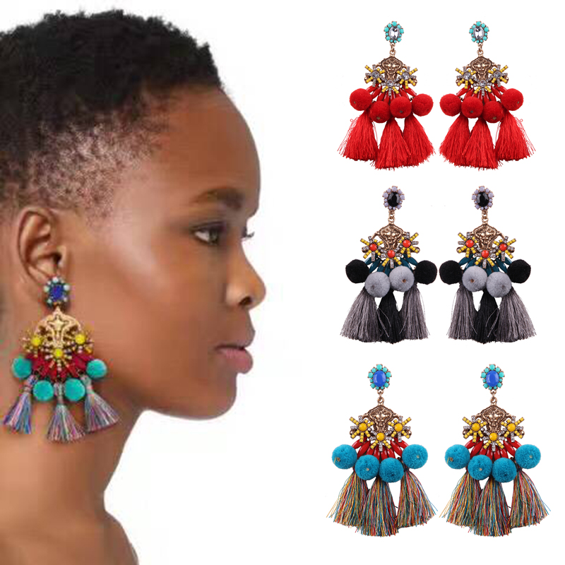 Best lady Bohemian Multi Color Wedding Stud Earrings for Women Beautiful Gift Cotton Ball Fashion Statement Earrings Jewelry