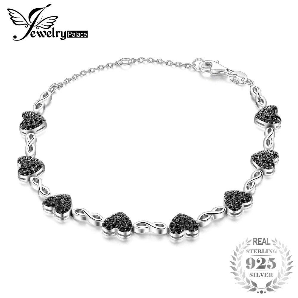 JewelryPalace 1.3ct Véritable Spinelle Coeur D'amour Bracelets de Cheville Pour Les Femmes 925 En Argent Fin Bijoux Romantique Cadeau De Noël