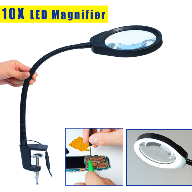 For Reading Repairing Embroidering Inspection Desktop Magnifier 10X Magnifying Glass Table Machine Soft Rod LED Light