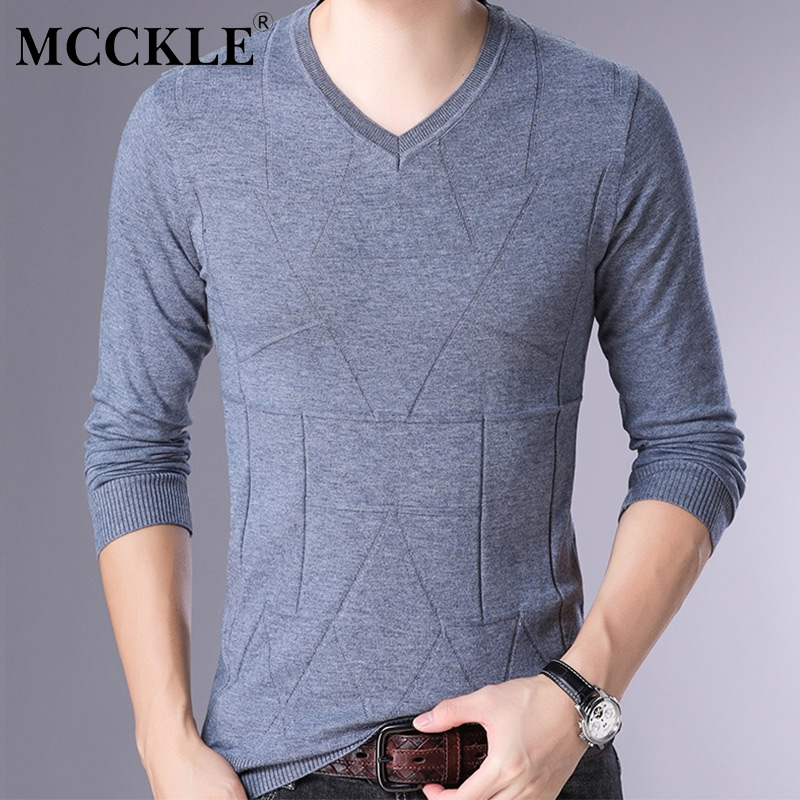Buy MCCKLE Brand Cashmere Solid Sweater Men Clothing New  Autumn Winter Slim fit Warm Sweaters V-Neck Knitting Pullover Men Tops for only 27.66 USD