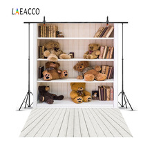 Laeacco Bear Toys Wooden Shelf Scene Baby Newborn Photography Backgrounds Customized Photographic Backdrops For Photo Studio