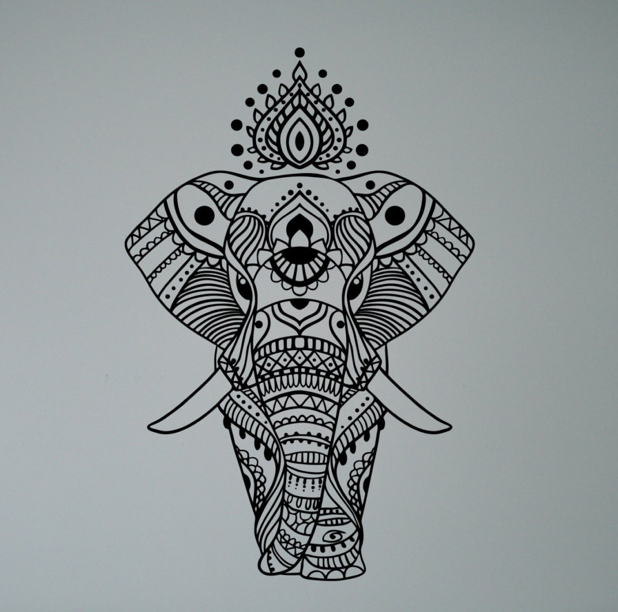 Indian Elephant Mandala Wall Sticker Asian Home Interior Ethnic Yoga ...