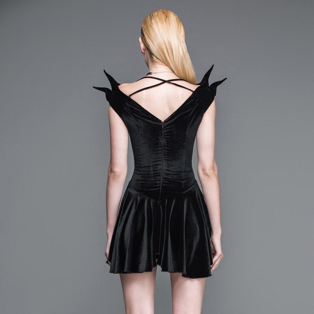 Sans Près Court Victorienne Mode Punk Dress Gothique Manches De Sexy Coupe Casual Noir Halter Diable Du Corps 0mnwvN8yO