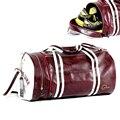 Homens de Couro Macio Saco barril Saco De Viagem Da Moda de Alta-Capacidade Para Os Homens À Prova D' Água bolsa de Ombro Bagagem Bolsa Deporte Mochila