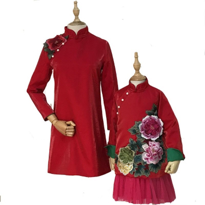 mother daughter son family matching clothes party women girl boy kids Embroidered flower dress cheongsam mama dochter kleding