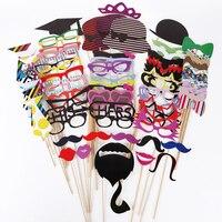 76 unid/set Photo Booth Atrezzo Máscaras Labios Sombreros Decoración Del Banquete de Boda Favor de La Boda la Fiesta de Navidad Fuentes Del Partido de Evento