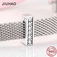 Hot sale 925 Sterling Silver Original Beads Dazzling CZ Clip Shine Charm Fit reflection Charms Bracelet Jewelry making(China)