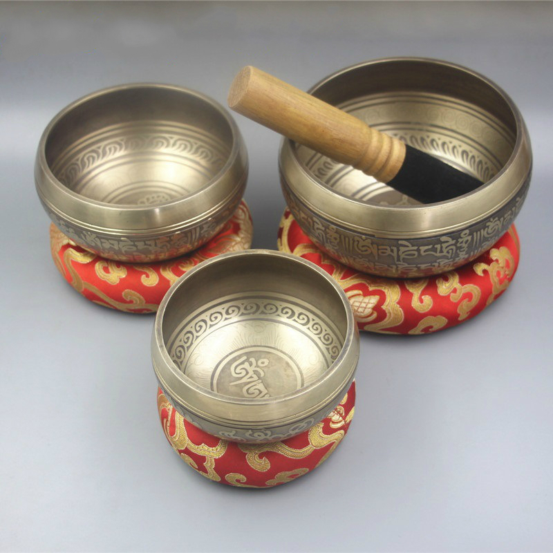 Professional Ode Buddhist Sound Bowl Nepal Handmade Brass Singing Bowl Yoga SPA Sound Therapy To The Bowl Bronze Chime Decor