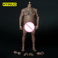 1/6 Scale AT018 Male Fat Man Boy Body Figure Military Chest Fat Meat Similar 12 Soldiers Action Figure Head Toys