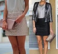 Dazzling Pretty Sexy Sheath Mini Sequins Skirt 2015 New Trend Short Skirts Pencil