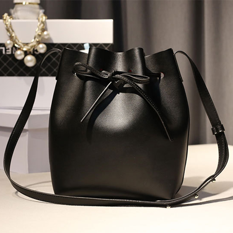 GZL 2 bags font b set b font Women Drawstring Bucket bag lady PU Leather String