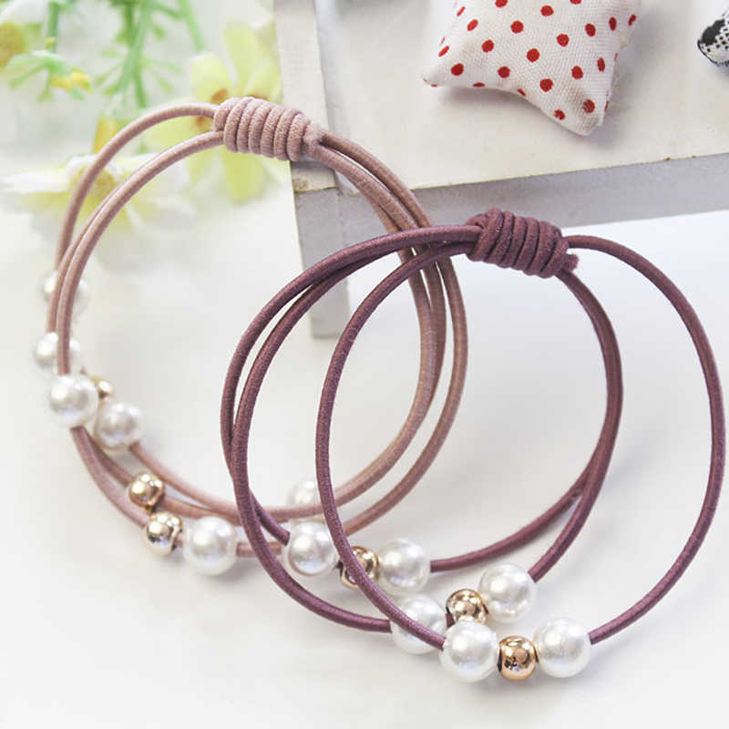 1/5PCS  Fashion Hair Accessories Head Rope Pearl Double Wear Elastic Band Polyester Korean Version Three-in-one Hair Ring  Bande