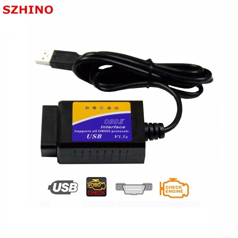 Nouvelle Version ELM 327 V1.5 OBD 2 ELM327 USB Interface CAN-BUS Scanner Outil De Diagnostic Câble Code Soutien OBD-II Protocoles