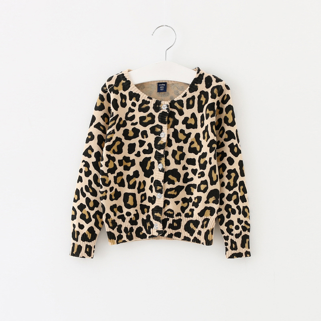 Kids Leopard Sweaters Full Sleeve Little girls Cardigans 100 ...