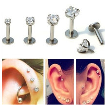 ZN 1 PC Silver Labret Lip Ring Zircon Anodized ภายใน Threaded PRONG อัญมณี Monroe 16G Tragus Helix EAR Piercing ต่างหูผู้หญิ(China)