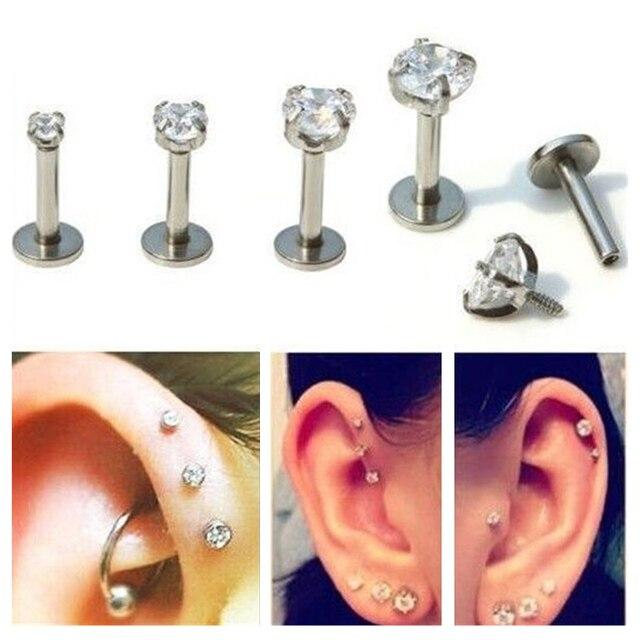 ZN 1 Pc Bạc Labret Lip Nhẫn Zircon Anodized Nội Threaded Prong Đá Quý Monroe 16G Vành Helix Ear Piercing bông tai phụ nữ