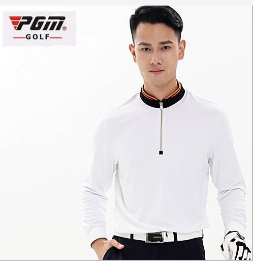 PGM Spring autumn Mens Golf Polo Shirts Breathable Elastic Long sleeve Half zip collar Golf Tshirts Men Quick Dry Tennis Shirt