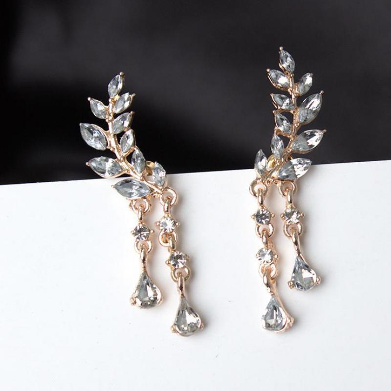Forceful Korean Version Of Jewelry Earrings Women Leaves Fringed Ear Zircon Earrings Earrings For Women Brincos Wholesale Clear And Distinctive Earrings
