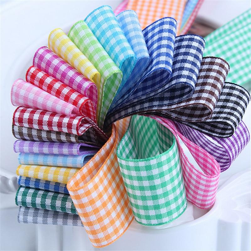 25 мм решетки ленты в шотландскую клетку лук лента для заворачивания подарка полиэстер ленты ручной работы DIY интимные аксессуары, 5 ярдов/лот