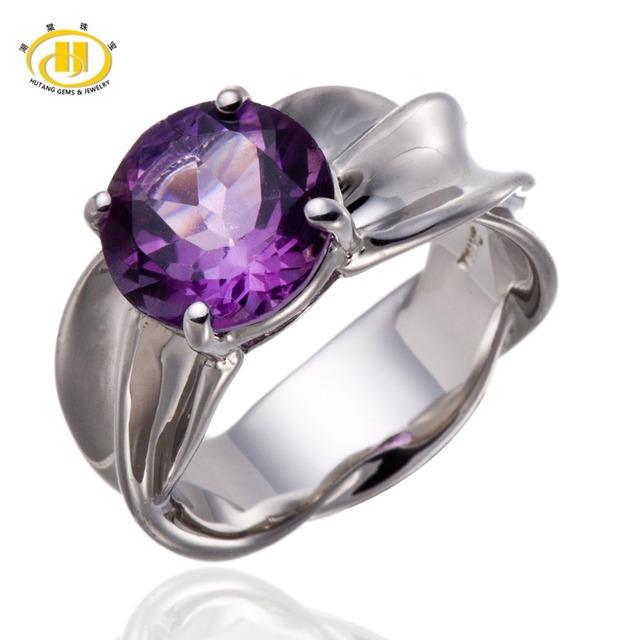 Hutang 2.95Ct Natural Purple Amethyst Gemstone Solitario Anillo de Plata Esterlina del Sólido 925 de Las Mujeres Jewellry