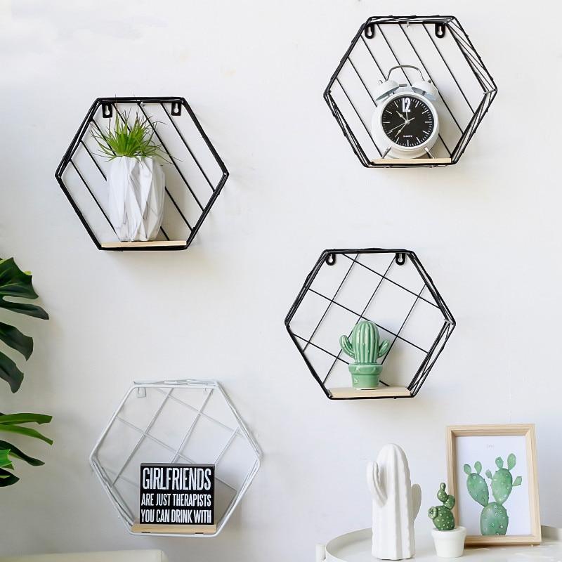 Nordic style ins home hexagonal iron decorative shelves creative bedroom room wall decorations dormitory wall shelf pendant
